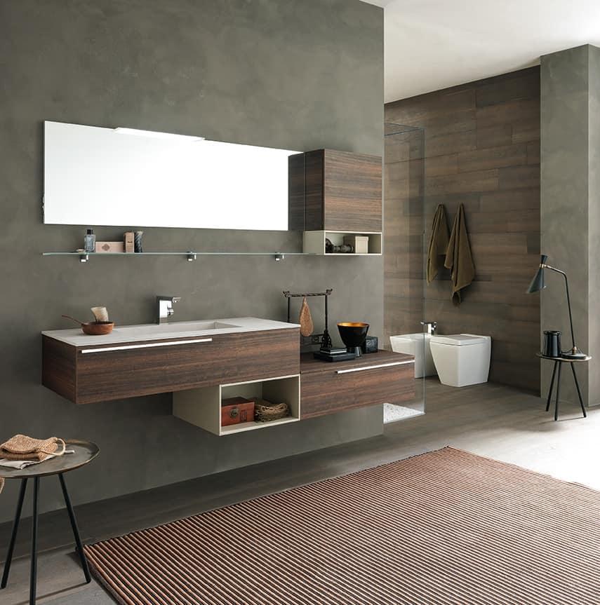 Lime Ø comp.40, Arredo bagno con ampio lavabo e ripiano d'appoggio