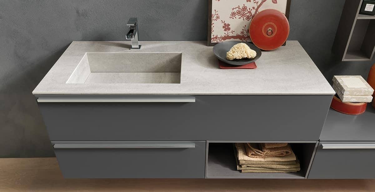 Lavello Bagno Con Mobile : Mobile per bagno con top e lavabo in gres pietra di savoia idfdesign