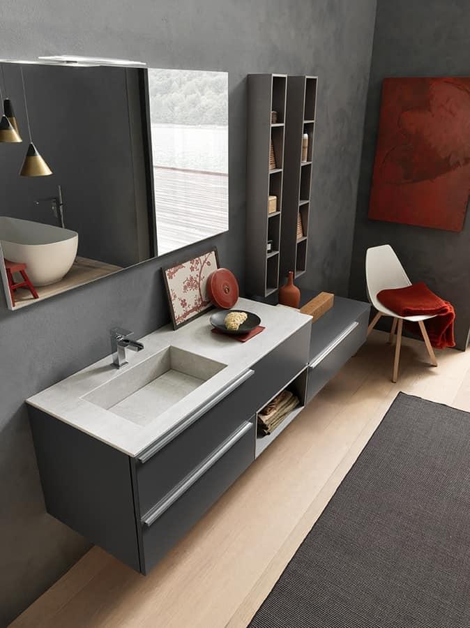 Mobile per bagno con top e lavabo in gres pietra di savoia idfdesign - Lavabo in pietra per bagno ...