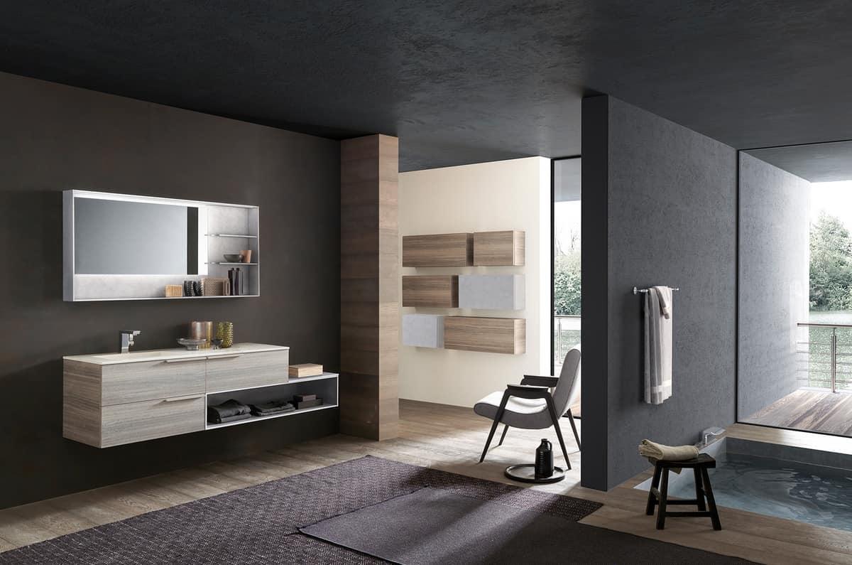 Mobile da bagno, con specchiera effetto cemento | IDFdesign