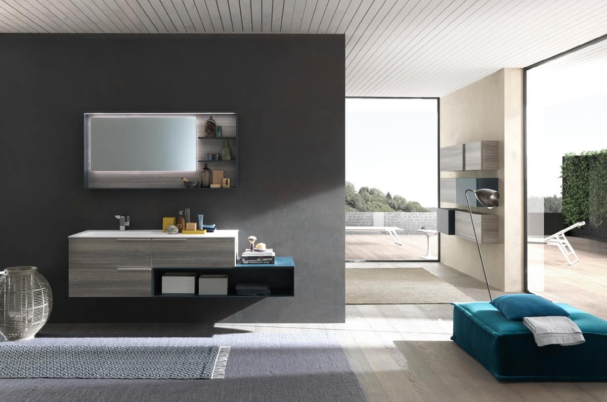 Elegante mobile per bagno dal design minimale idfdesign for Arredo minimal home