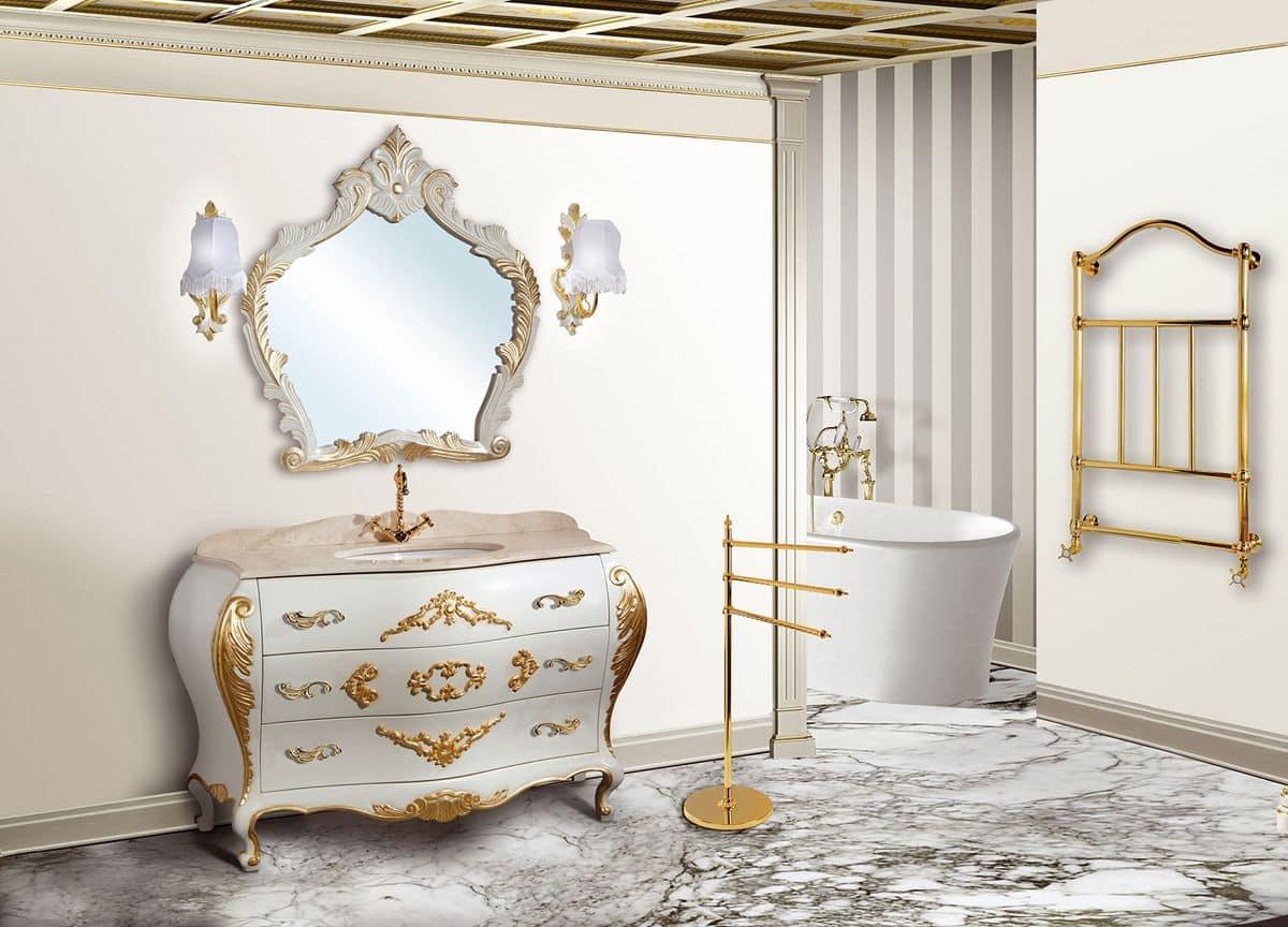 Lipari arredo bagno in stile piano in marmo - Rubinetteria bagno bianco oro ...