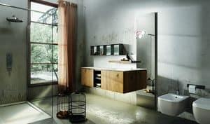 Maia 301, Mobile per bagno con mensola con rubinetto a scomparsa