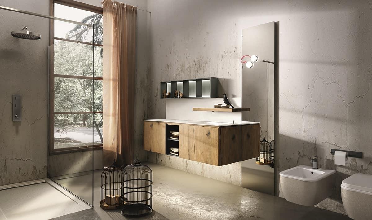 Mobile per bagno con mensola con rubinetto a scomparsa  IDFdesign