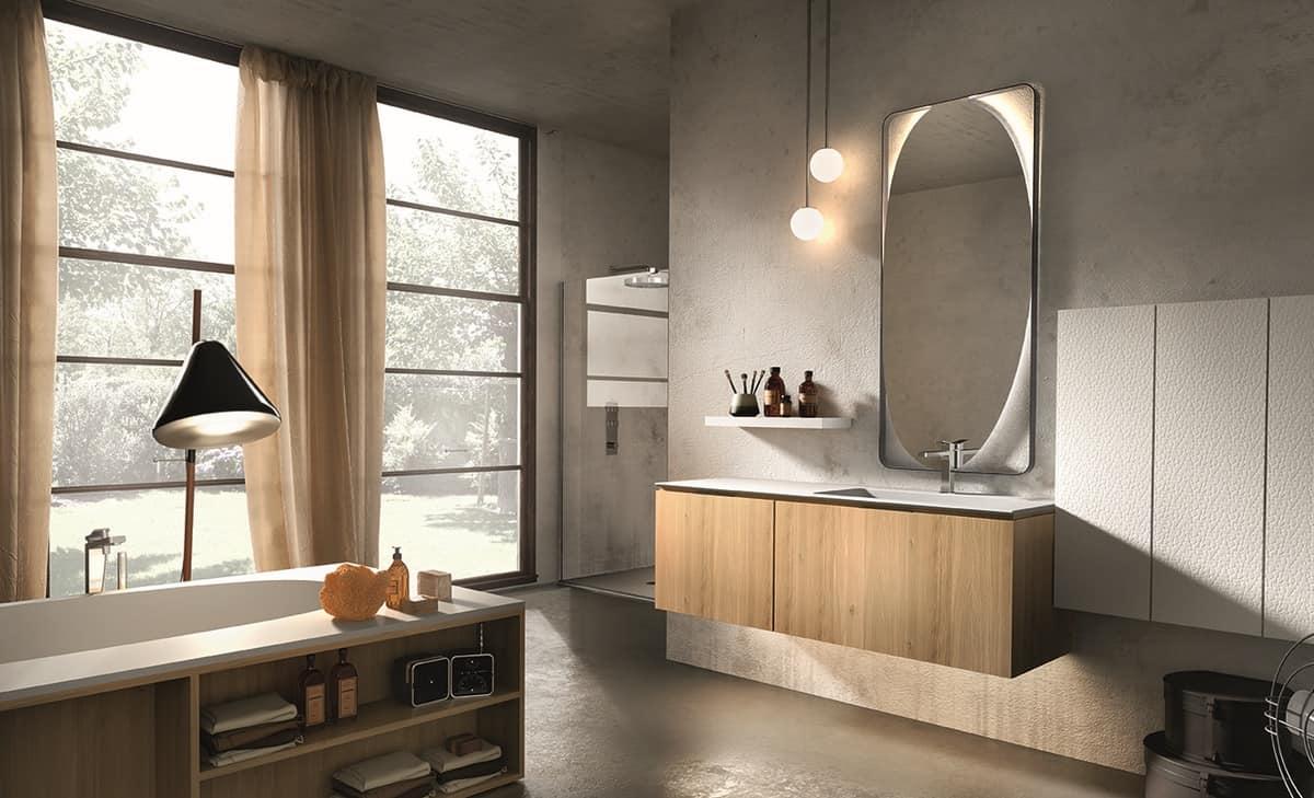 Mobile da bagno realizzato in legno e marmo idfdesign - Arredo bagno in legno ...