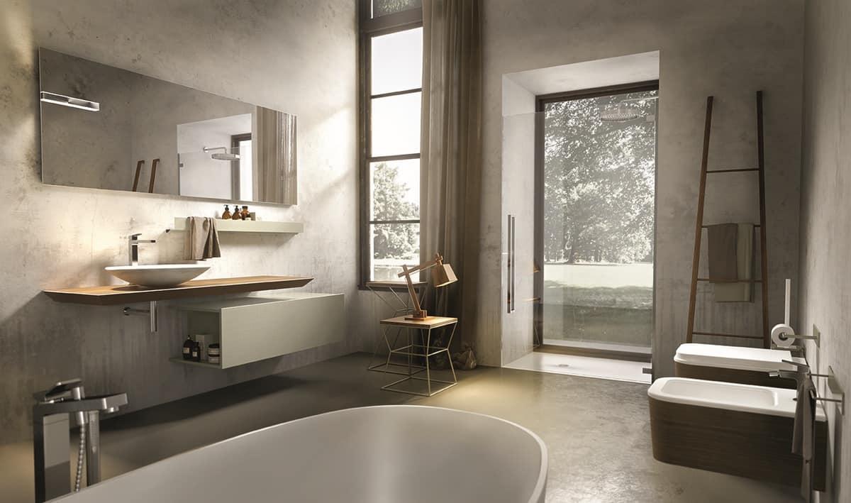Composizione per bagno con console e specchiera idfdesign
