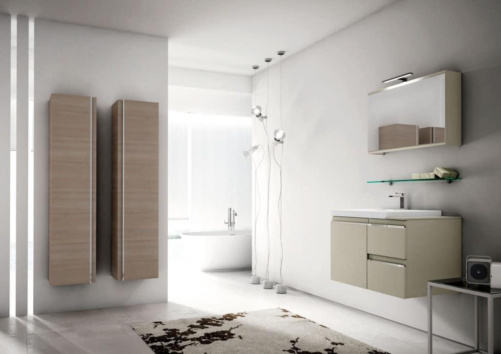 Arredo per bagno con ampi contenitori pensili idfdesign - Contenitori per bagno ...