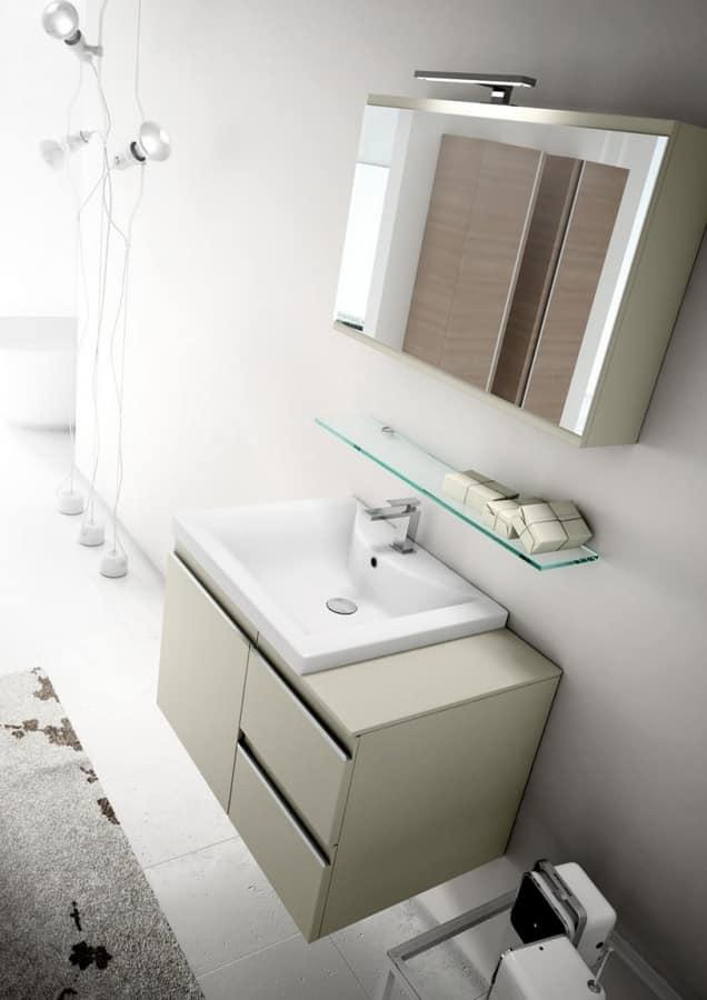 Arredo per bagno con ampi contenitori pensili idfdesign for Pensili per bagno