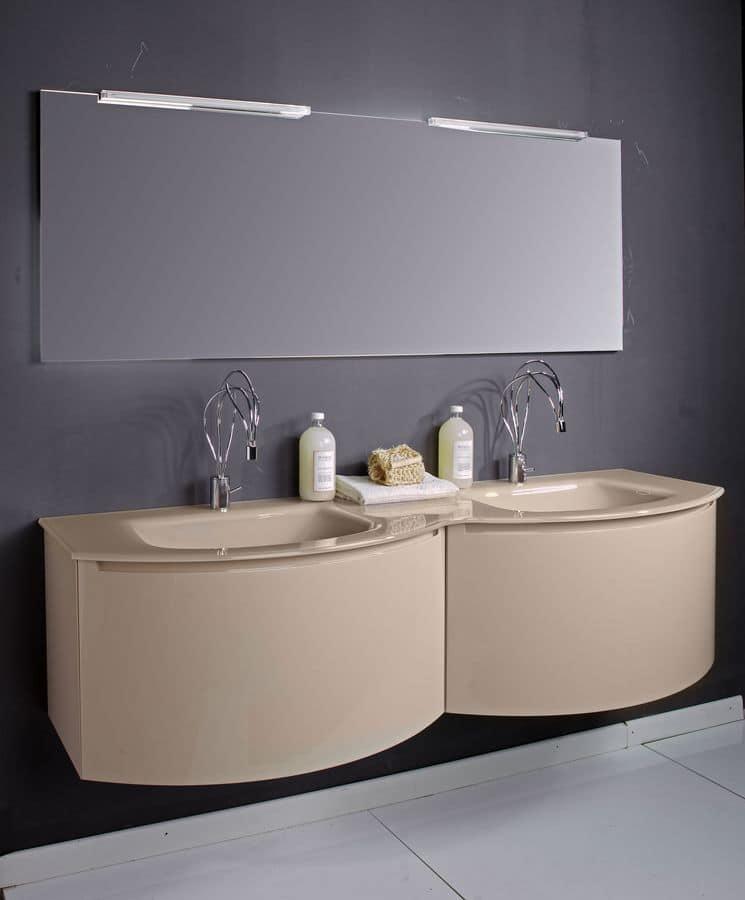 Composizione bagno con 2 lavabi e specchiera idfdesign - Mobile bagno con 2 lavabi ...