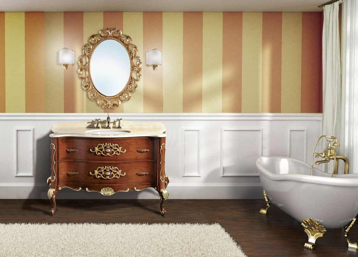 Naxos composizione arredo bagno con mobile in noce decorazioni foglia oro top in - Bagno la bussola ...