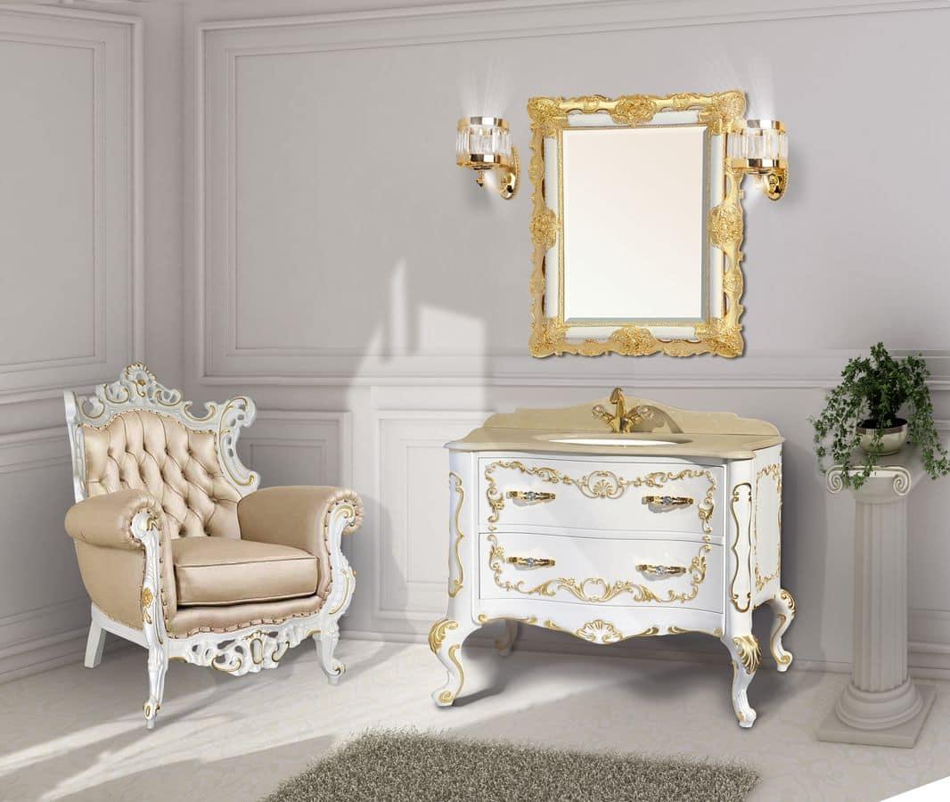 Naxos mobile da bagno con lavabo specchiera - Rubinetteria bagno bianco oro ...