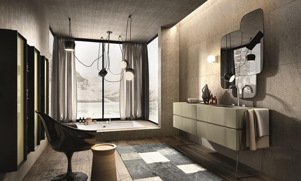 Composizione per bagno color cappuccino idfdesign - Composizione piastrelle bagno ...