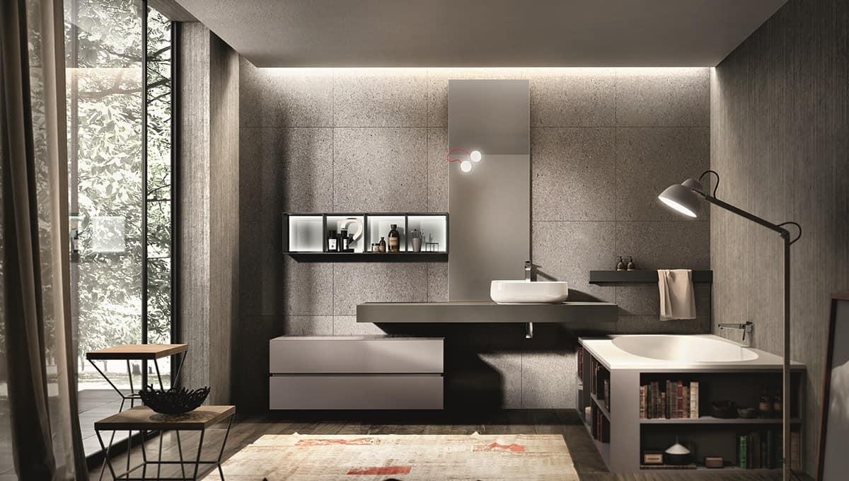 Arredamento per bagno vasca con libreria integrata for Bagno arredo design