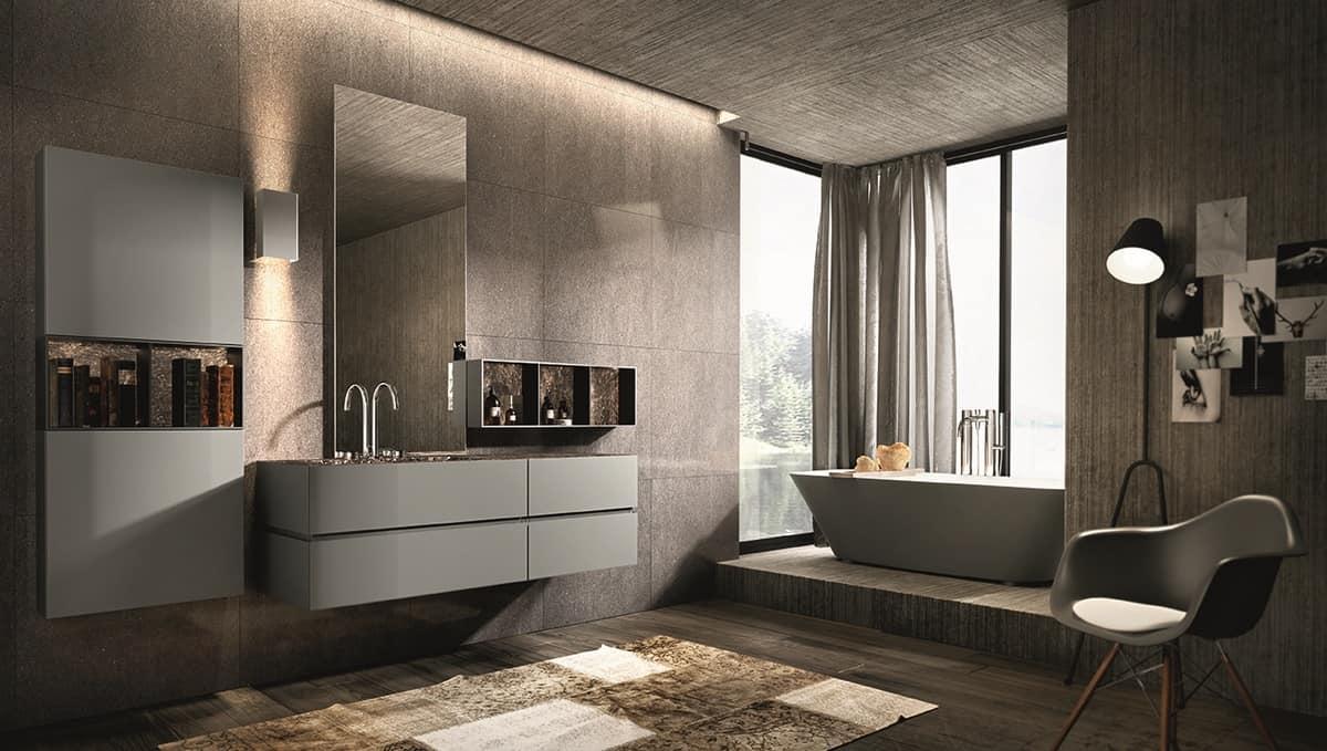 Composizione per bagno con specchiera e pensili idfdesign for Arredo bagno semplice