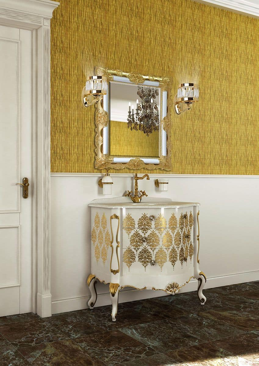 Pantheon mobile per bagno in stile classico finiture in foglia oro color bianco - Mobile bagno classico bianco ...