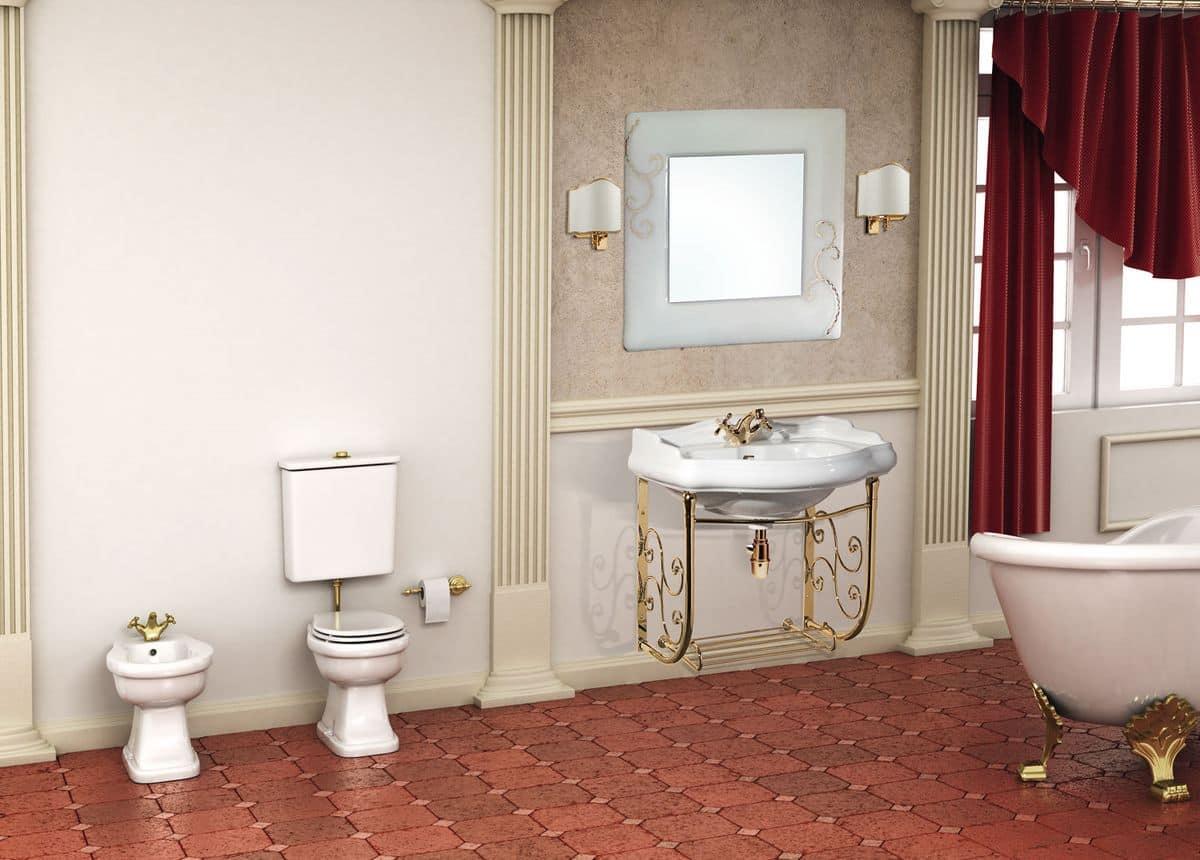 Parigi arredo bagno con consolle in ottone finitura oro lucido per bagni dal gusto - Bagno la bussola ...