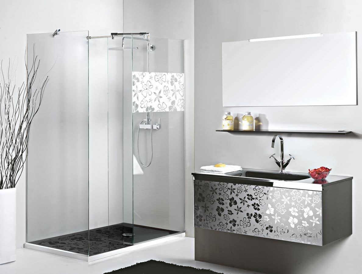 Reflex comp.2, Mobile bagno in stile moderno, decoro floreale frontale - IDFdesign