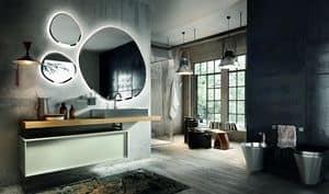 Regolo 324, Mobile da bagno in legno, con lavabo in acciaio