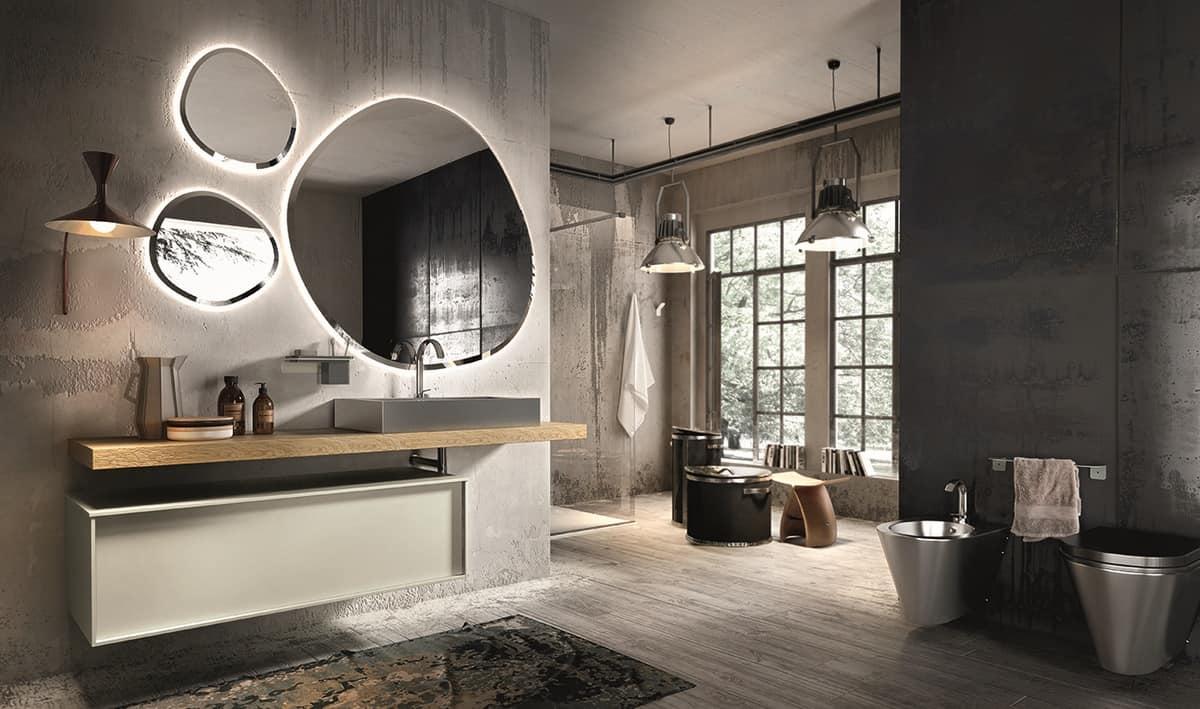 mobile da bagno in legno con lavabo in acciaio idfdesign. Black Bedroom Furniture Sets. Home Design Ideas