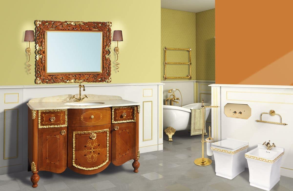 Retr murano composizione con mobile da bagno e specchiera in noce dorata lavabo in - Bagno la bussola ...