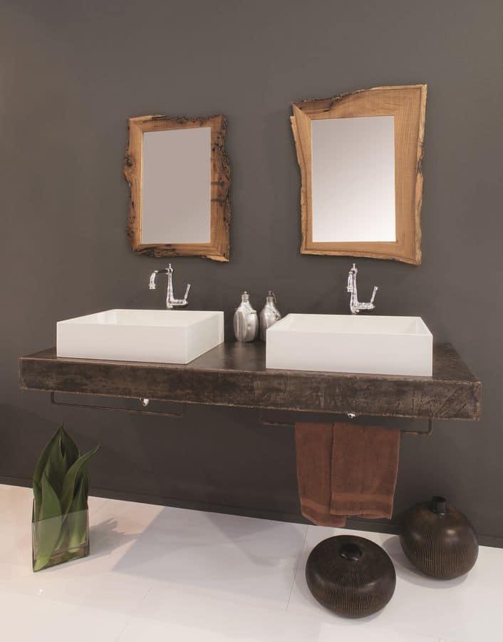 Ruggine arredo bagno con piano in metallo arrugginito - Gaia arredo bagno ...