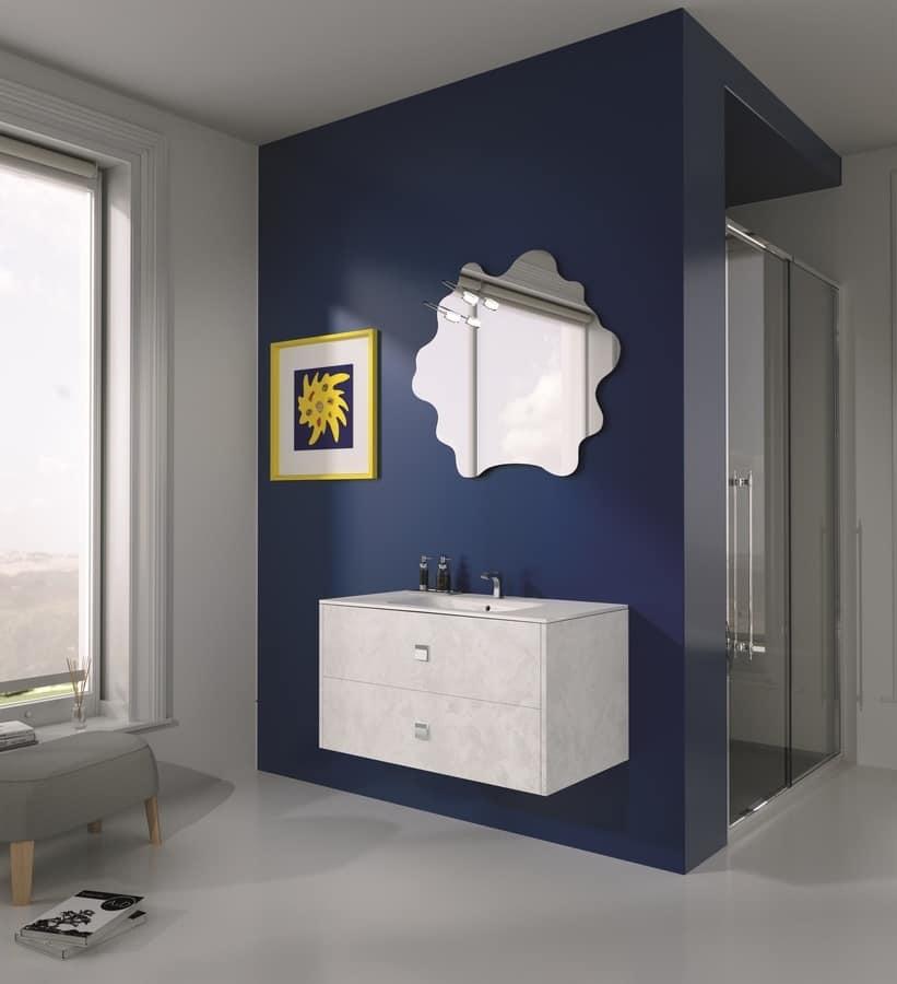 Composizione per bagno moderno maniglie cromate idfdesign for Maniglie mobili bagno