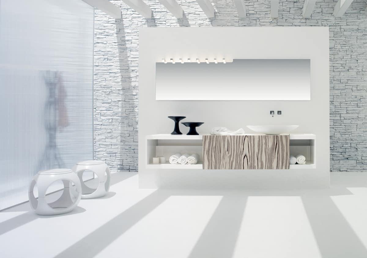 Base pensile per bagno in bianco opaco con anta scorrevole