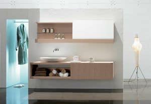 Slide 03, Elegante composizione per bagno, in rovere sbiancato