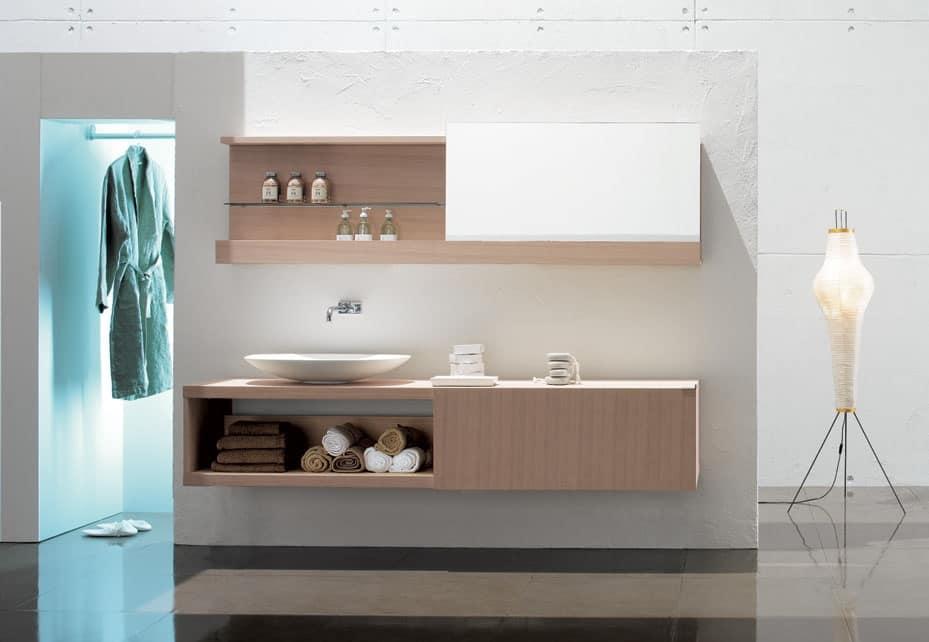 Elegante composizione per bagno in rovere sbiancato idfdesign