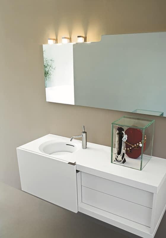 Mobile da bagno compatto, con anta scorrevole, colore bianco | IDFdesign