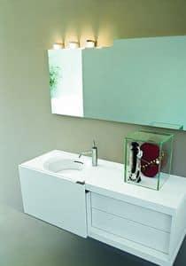 Slide 04, Mobile da bagno compatto, con anta scorrevole, colore bianco