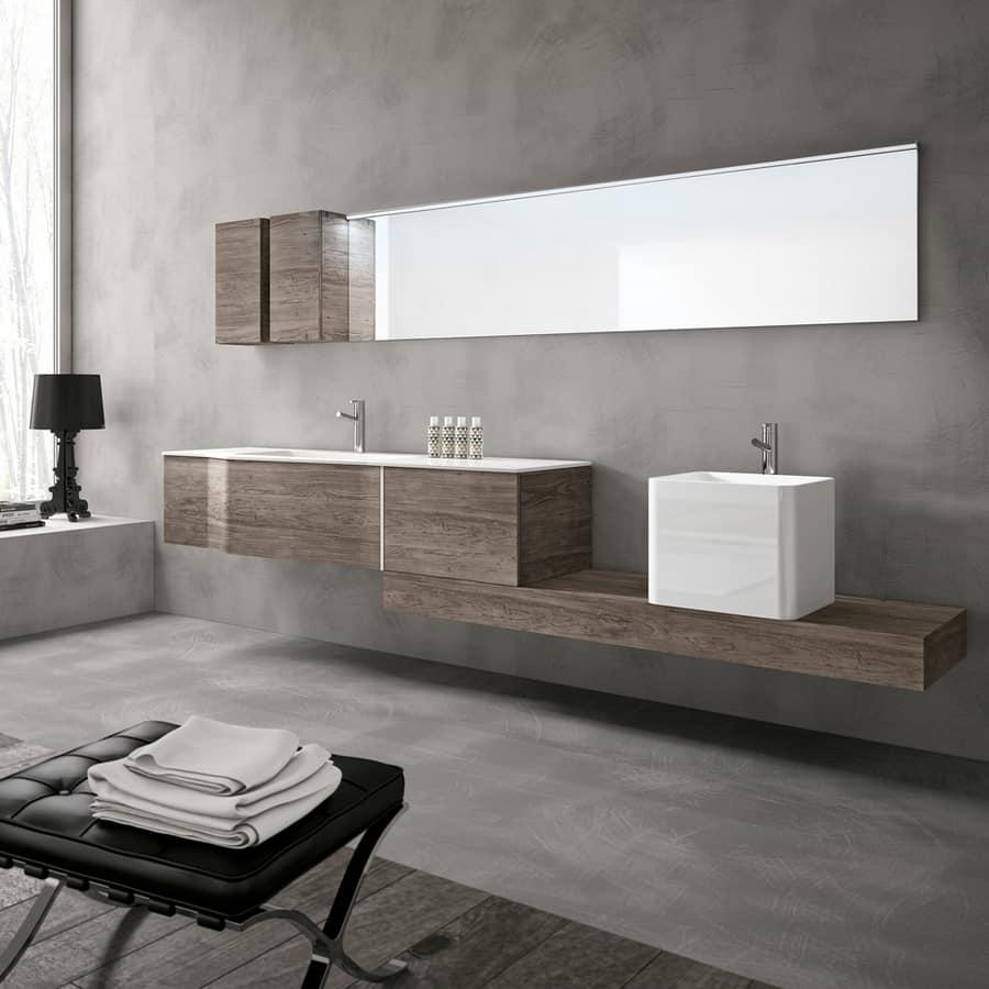 Ampio mobile da bagno con doppio lavabo idfdesign for Design arredo bagno