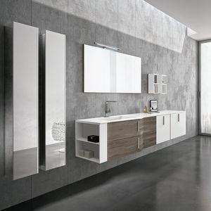 STR8 comp. 03, Elegante mobile da bagno con moduli a giorno