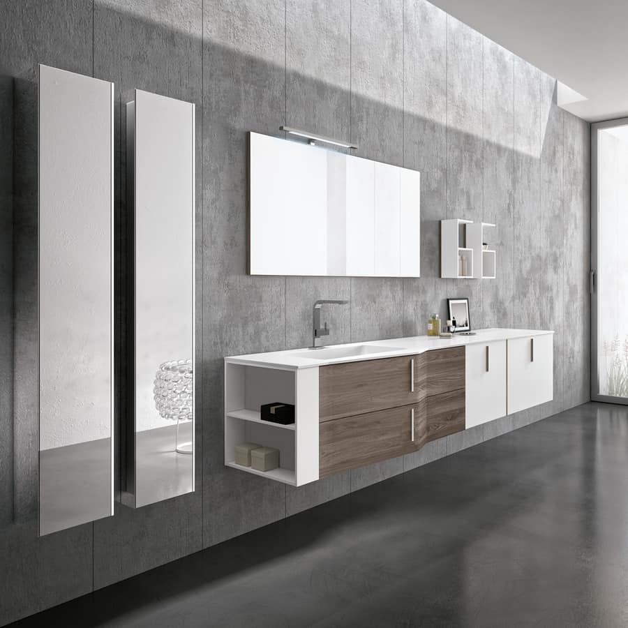 Elegante mobile da bagno con moduli a giorno idfdesign for Aziende arredo bagno