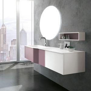 STR8 comp. 09, Mobile bagno, con piano in mineralmarmo, con specchio