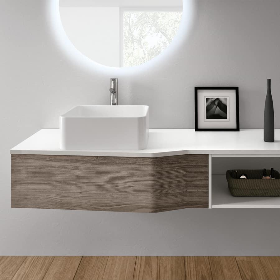 Mobile da bagno moderno con lavabo in ceramica idfdesign - Ceramica bagno moderno ...