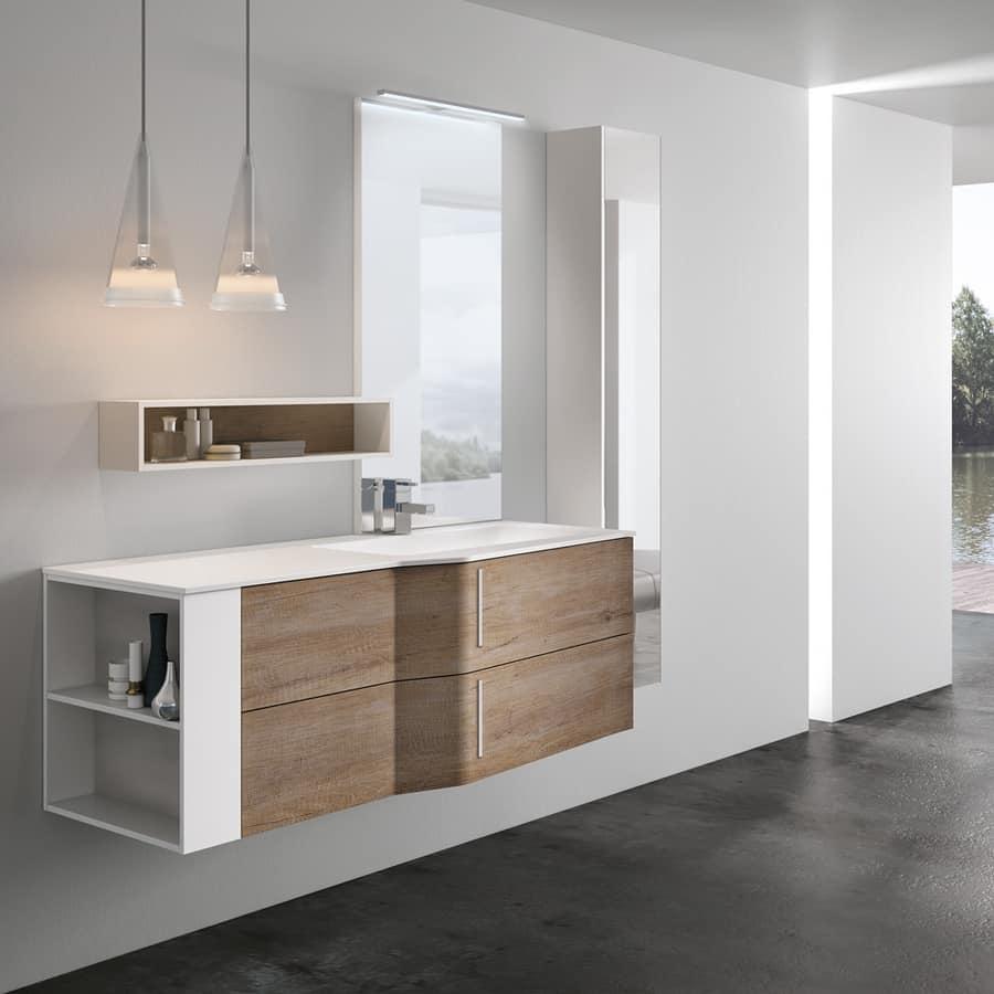 Mobile da bagno con specchio dotato di lampada idfdesign - Lampada specchio bagno ...