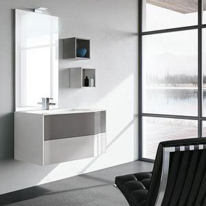 STR8 comp. 15, Mobile da bagno con cassetti, mensole e luce LED