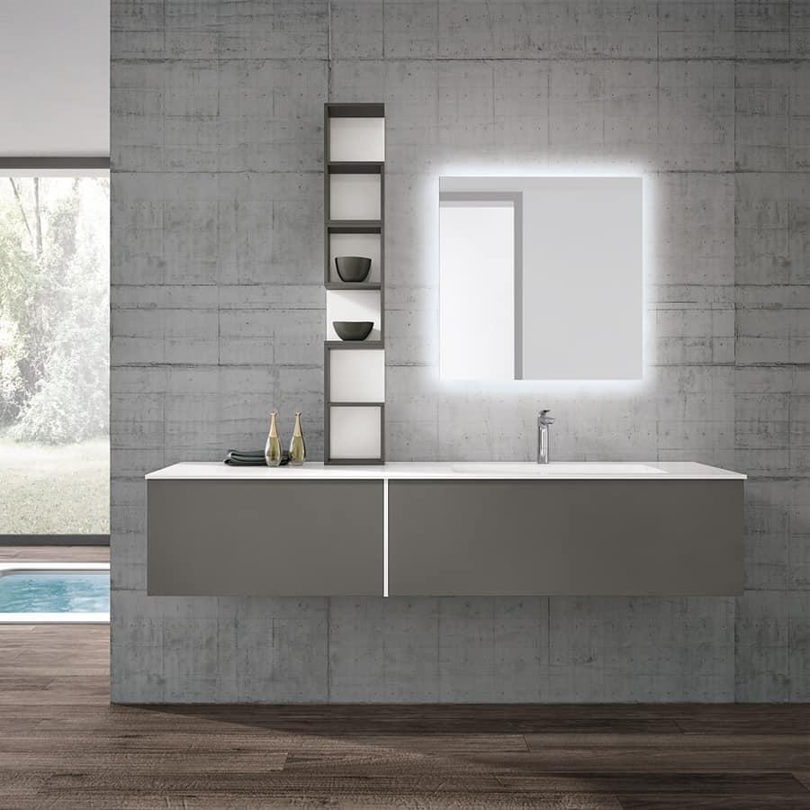 Mobile bagno moderno con specchio retro illuminato idfdesign - Specchio bagno moderno ...