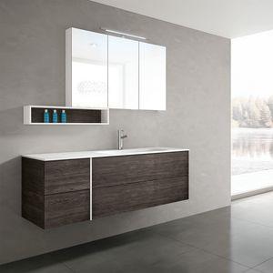 STR8 comp. 20, Mobile bagno, contemporaneo, con top in Mineralmarmo
