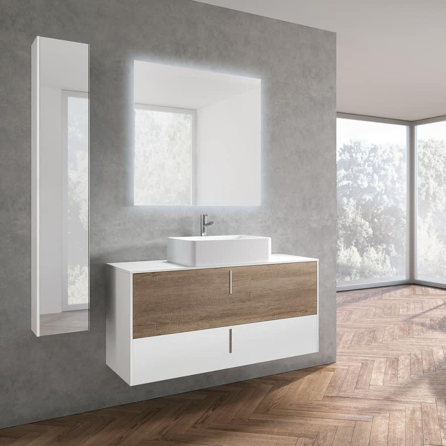 Mobile da bagno in stile minimale con maniglia verticale idfdesign - Arredo bagno stile spa ...