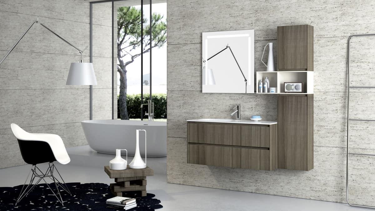 Mobile con lavabo con finitura tranchè varie dimensioni idfdesign