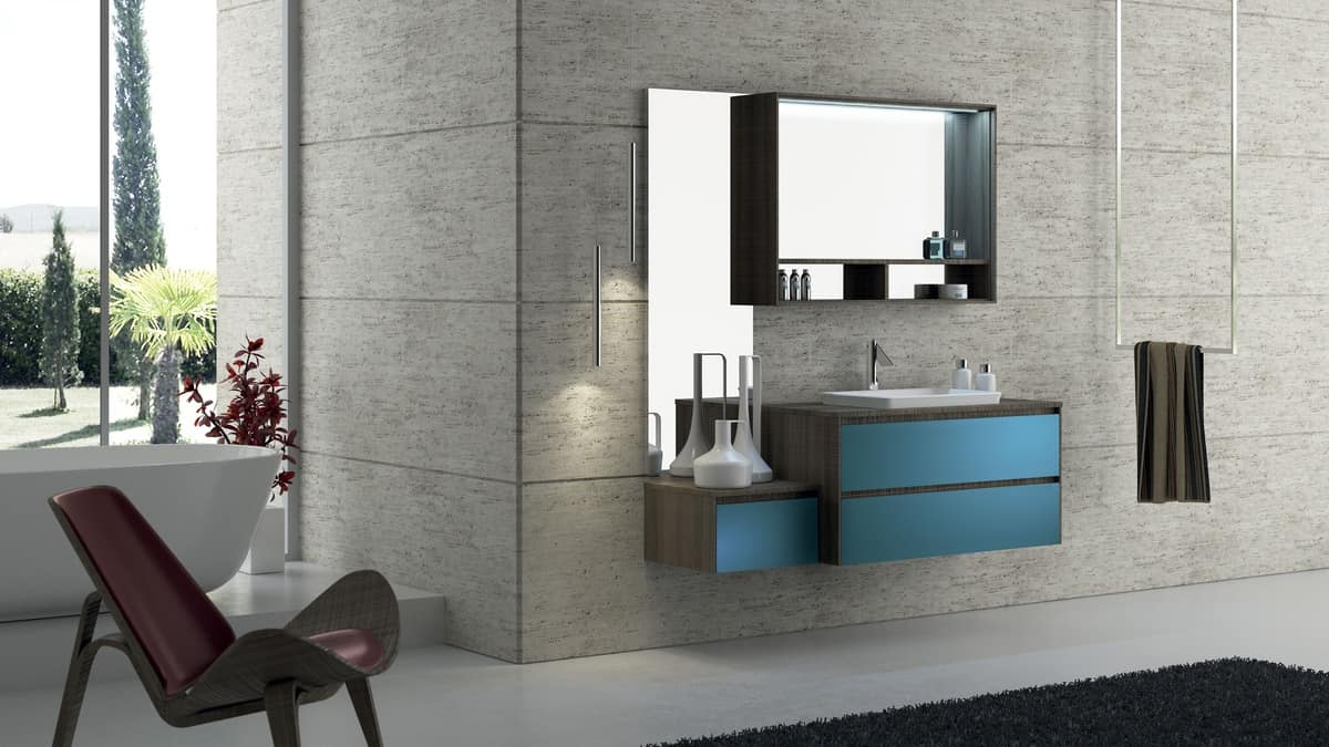 mobile da bagno con lavabo modulare e semplice idfdesign