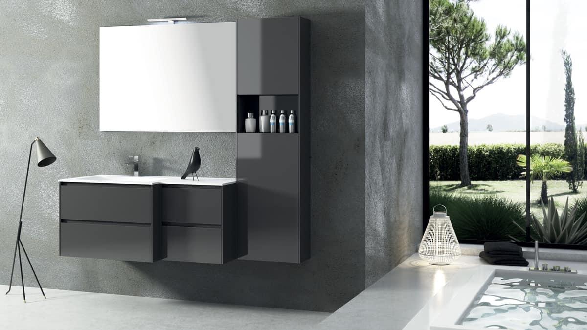 Mobile da bagno semplice e funzionale idfdesign for Arredo bagno semplice