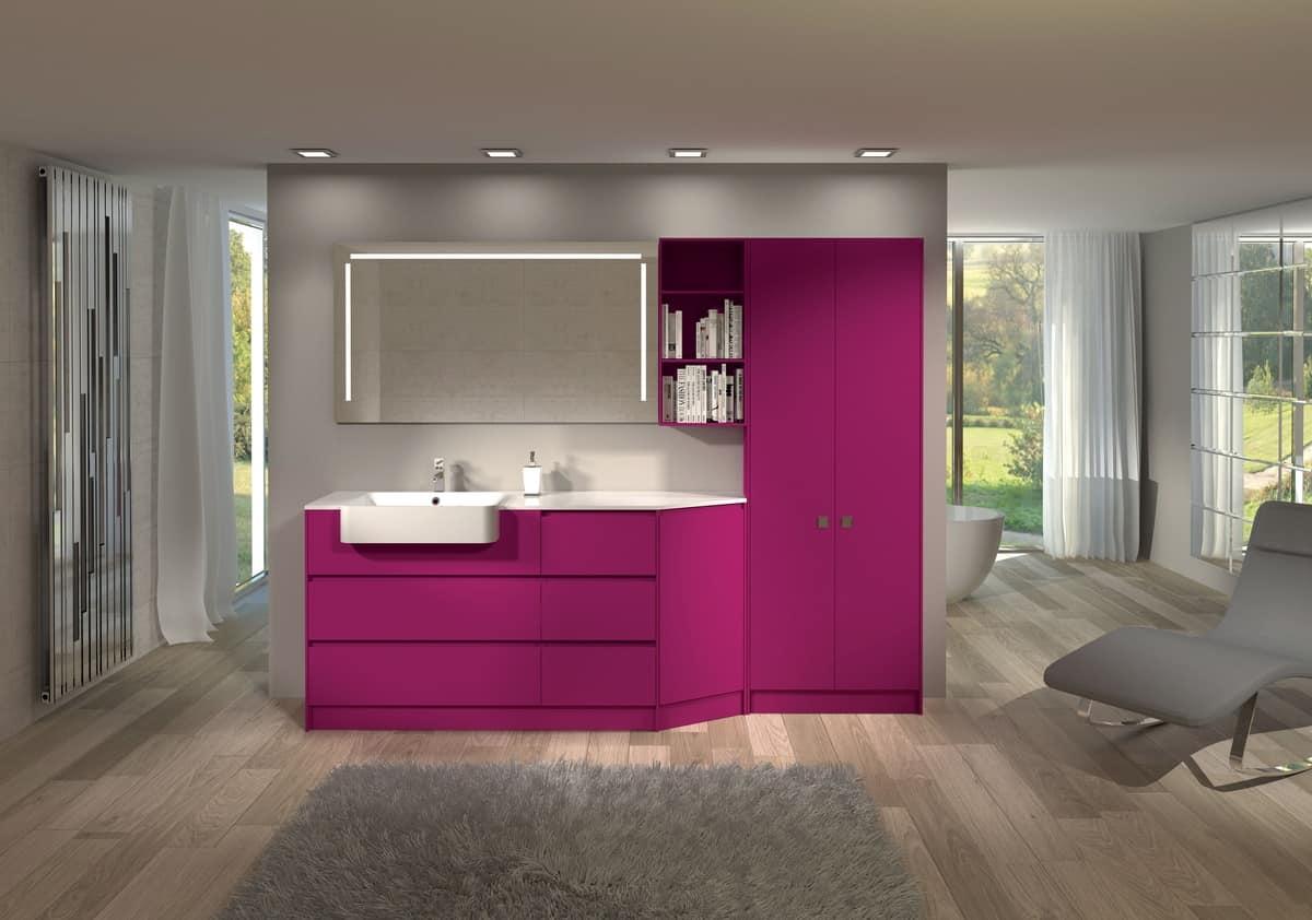 Arredo da bagno con armadio, libreria e specchio | IDFdesign