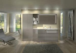 Torana TR 013, Mobile da bagno laccato lucido, modulare