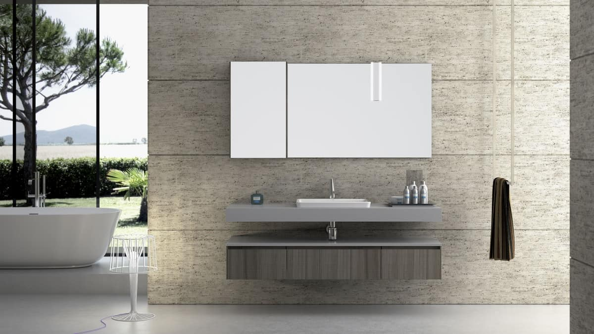 Composizione da bagno con finitura cemento idfdesign for Marmo arredo spa