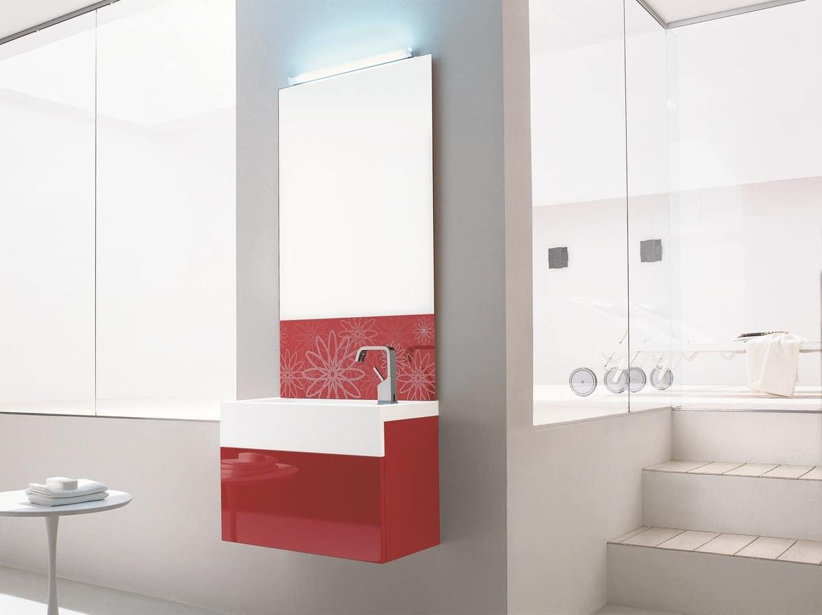 Mobile bagno rosso lucido, con specchiera decorata | IDFdesign