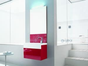 Trenta5 02, Mobile bagno rosso lucido, con specchiera decorata