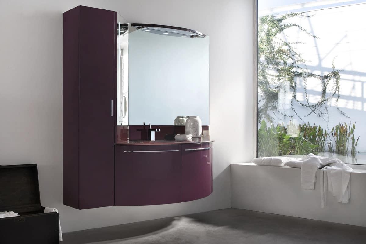 Mobile bagno con colonna pensile ante stondate idfdesign for Mobile bagno colonna